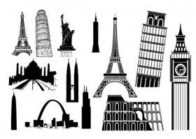 Of foreign famous buildings vector material