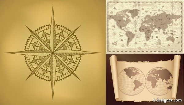 Old map and compass vector material 2