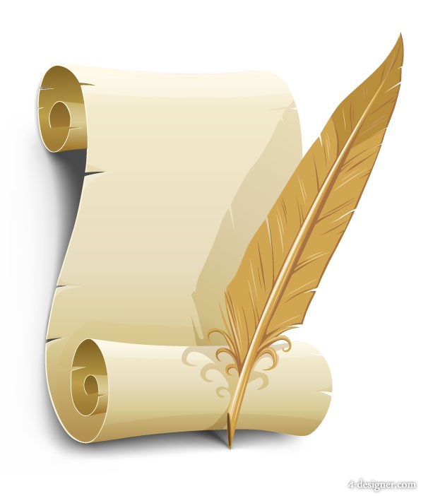 Old paper with quill vector