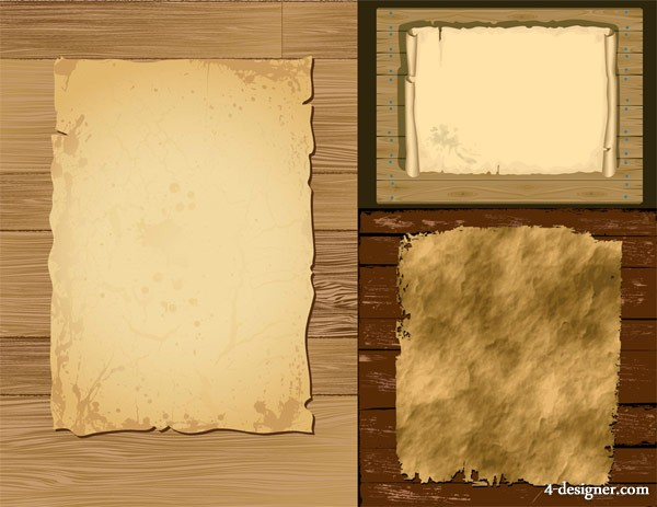 Old paper with wood Vector