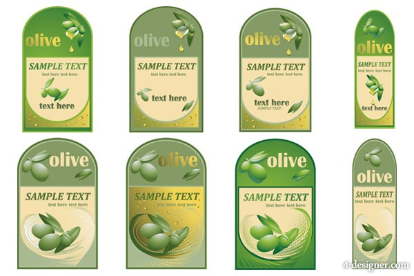 Olive oil bottles affixed Vector