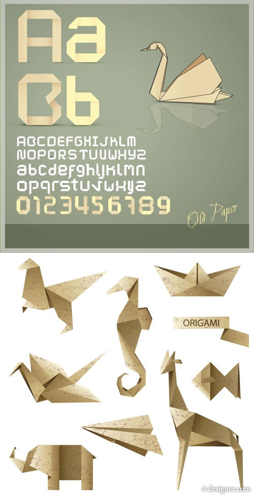 Origami letters and graphics vector material