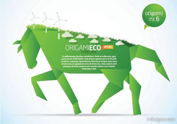 Paper horse vector material