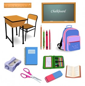 Primary school stationery vector
