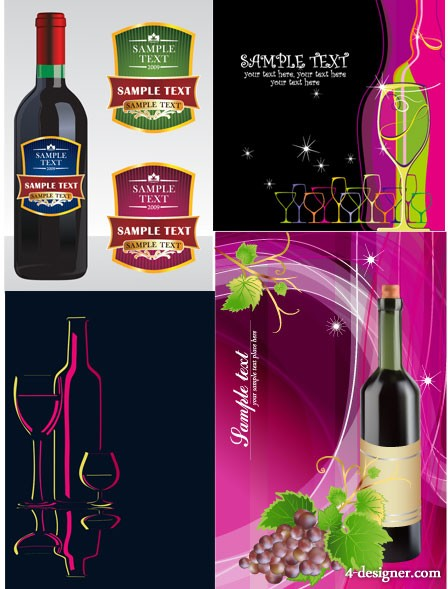 Red wine background bottle stickers banner vector material