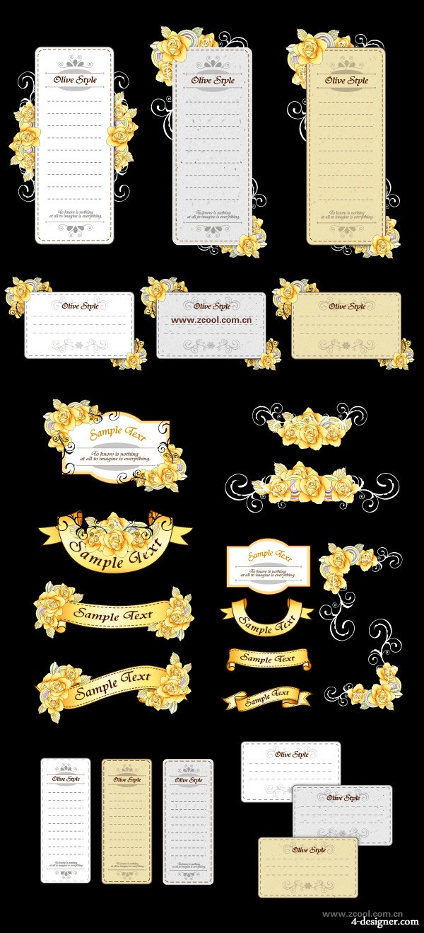 Ribbon cards with hand painted flowers vector material yellow