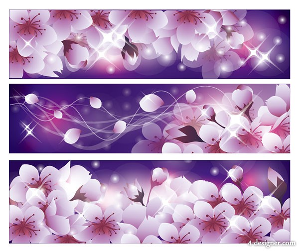 Romantic flowers background vector material