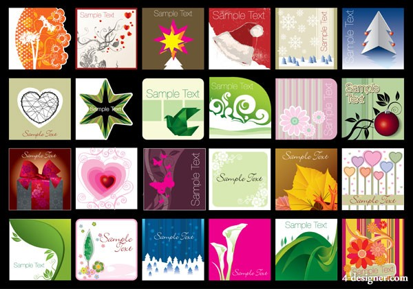 Several lovely background vector material