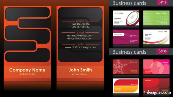 Simple business card background vector material