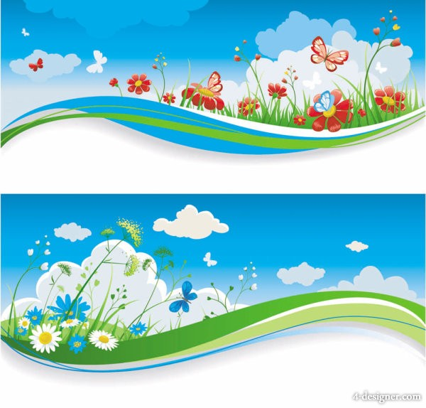 Spring banner03 Vector