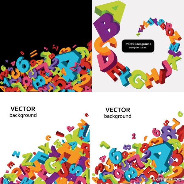 Stereo digital letters vector background Vector Vector