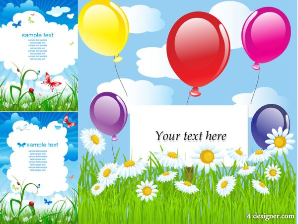 Summer theme card background vector material