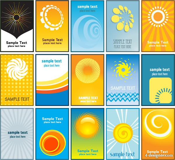 Sun theme cards business card background vector material
