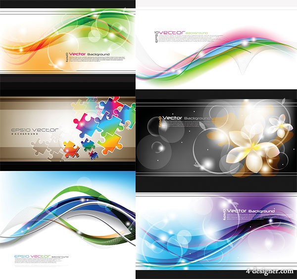 Symphony curves and flower background vector material