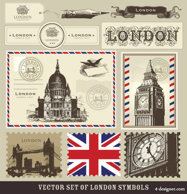The European buildings stamps 02 Vector