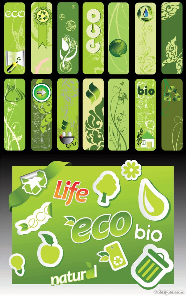 The beautifully green living banners series of vector material