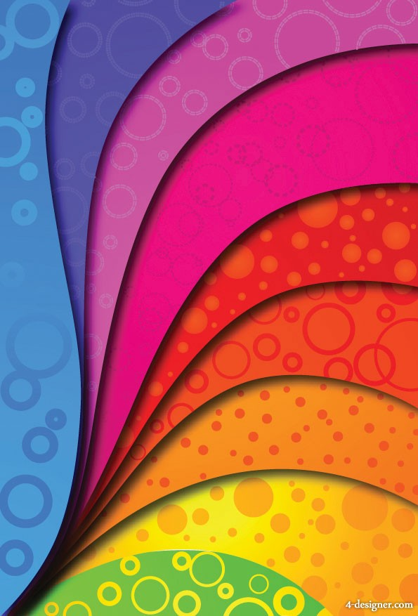The colorful arcs backgrounds vector material
