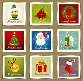 The exquisite Christmas Ornaments stamps Vector
