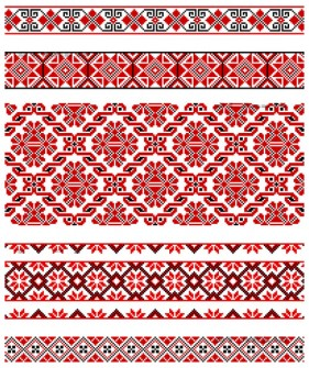 The exquisite national dress pattern 02 vector material