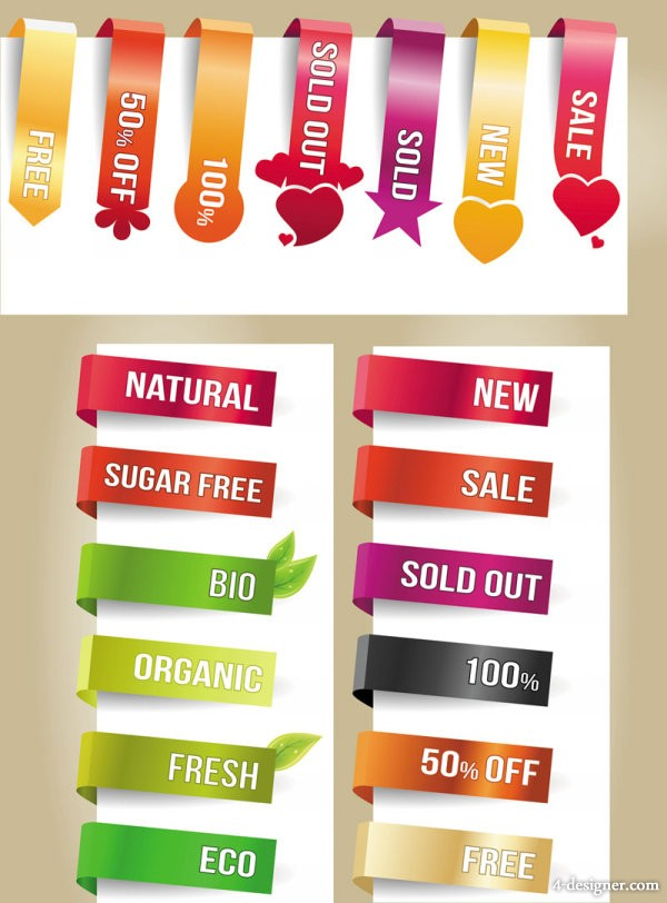 The exquisite wrapping angle labels Vector