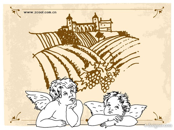 The line drawing Cupid and manor vector material