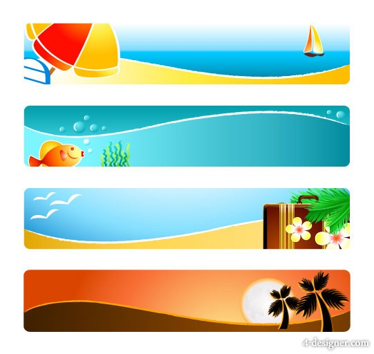 The sunny beaches banner banner vector material