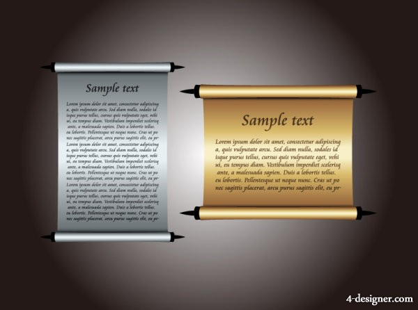 The two scrolls paper roll vector material 2