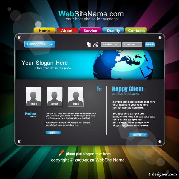 Trend of dynamic web template 05 vector material