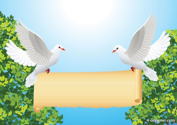 Vector cartoon dove of peace and rolls Vector