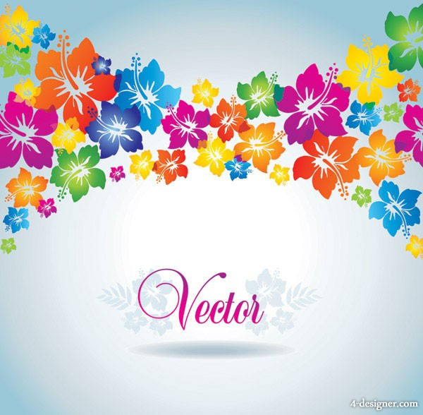 Vector colorful flowers background