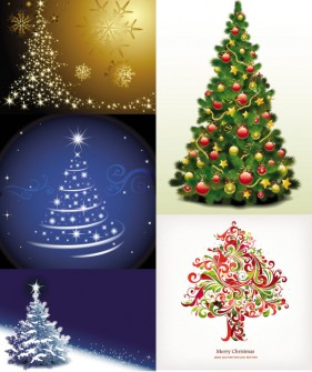 Vector exquisite Christmas tree vector material