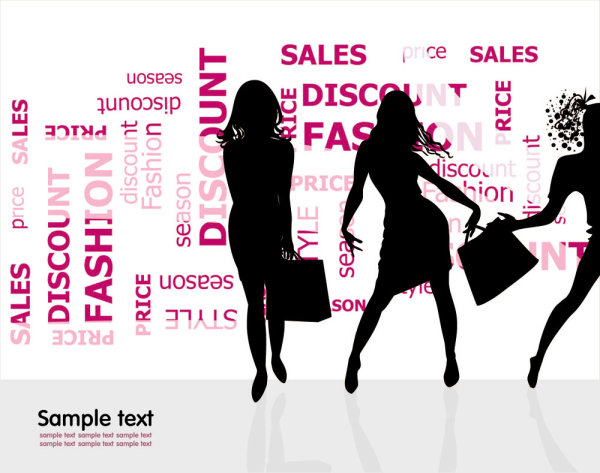 Vector material fashion shopping beauty silhouette 01 vector material