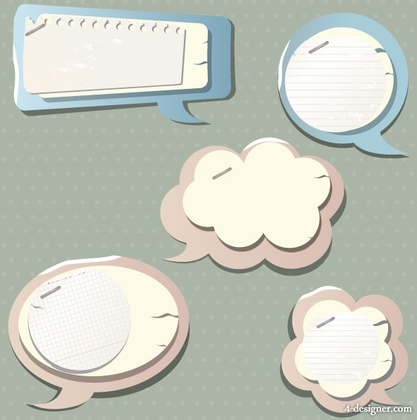 Vector material of the the paper dialog box 03 vector material