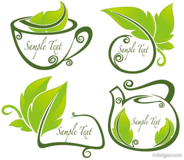 Vector tea silhouette pattern 01 vector material