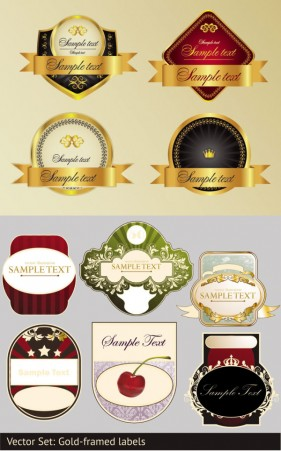 Wine affixed with labels Vector