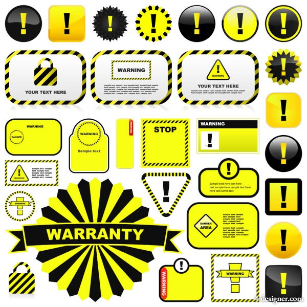 Yellow warning signs and labels 01 vector material