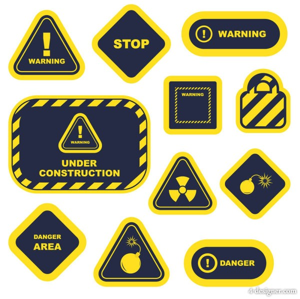 Yellow warning signs and labels 02 vector material