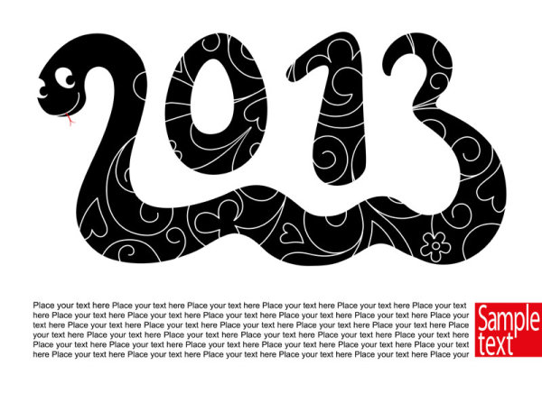 2013 New Year theme 01 vector material