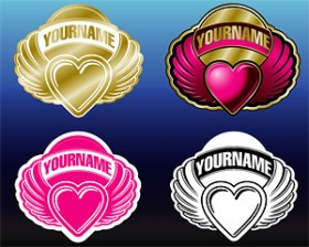 4 ribbon wings heart shaped vector material