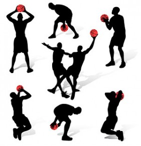 7 basketball sports action figures silhouette vector material