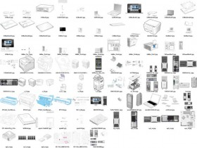 A variety of computer products line drawing vector material