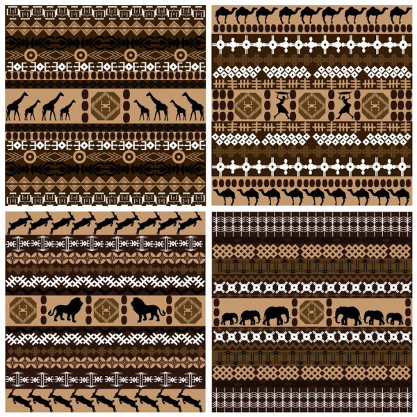 African graphic pattern background 01 vector material