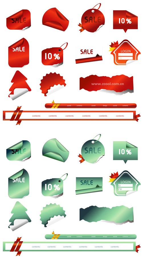 Angular tag sticker vector material