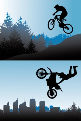 Bicycle and motorcycle sport silhouette vector material