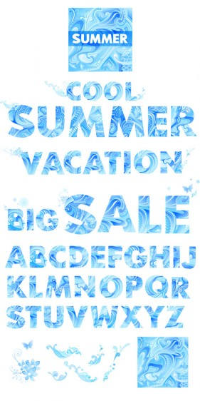 Blue summer letters of the alphabet vector material