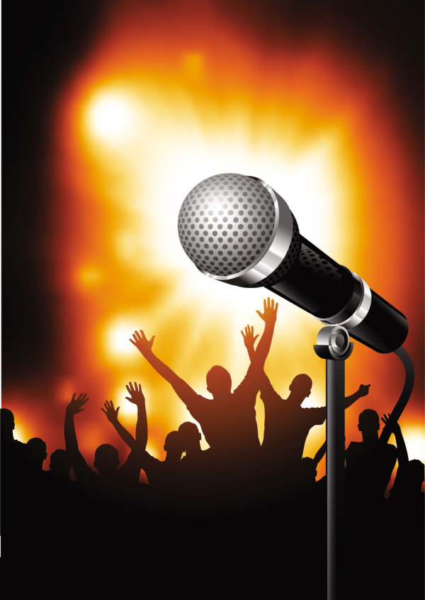 Bright microphone background 03 vector material