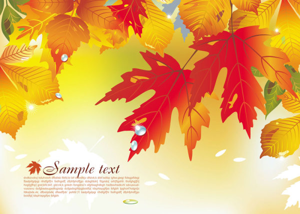 Brilliant maple leaf background 04 vector material