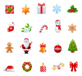 Cartoon Christmas icon 01 Vector