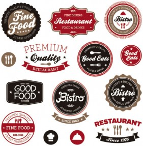 Classic coffee label 02 vector material