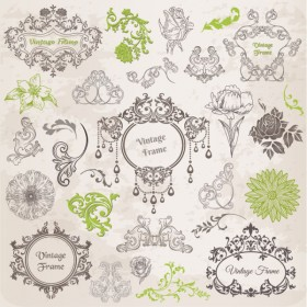 Classic lace pattern 02   vector material